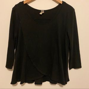 FREE PEOPLE We The Free Black 3/4 sleeve Top